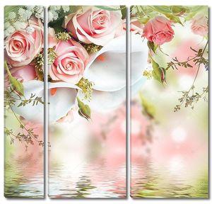 Нежный букет из роз и калл