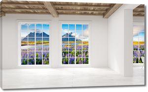 Цветущее поле в окне