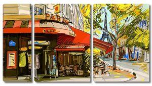 Рисунок кафе в Париже