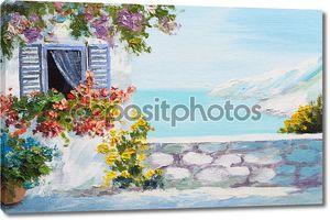 Пейзаж маслом - терраса на берегу моря, цветы