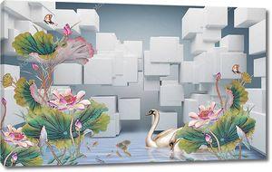 Кубики, розовые водяные лилии с листьями