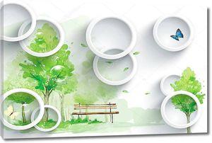 Белые кольца, зеленые деревья, скамейка