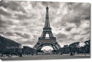 Эйфелева башня с резкое небо монохромный черный и белый