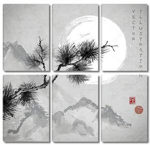 Сосна и горы в Японском стиле