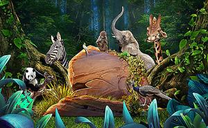 Животные в густом лесу