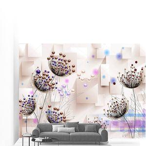 Большие цветы с фиолетовыми  бусинами на тонких стеблях