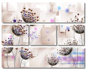 Большие цветы с фиолетовыми и золотыми бусинами на тонких стеблях