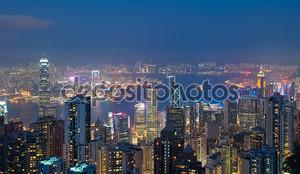Гонконг ночью, вид с пика Виктории