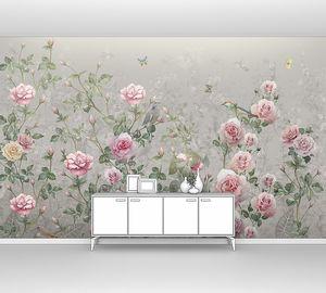 Кусты роз на сером фоне