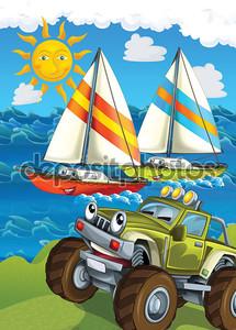 Машина на фоне моря и солнца