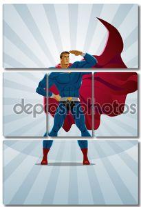 Супергерой стоит на фоне восхода солнца