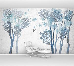 Деревья с голубыми цветами