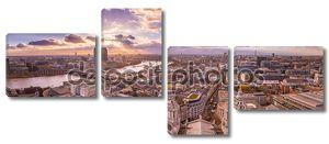 Панорамный пейзаж вид Южного и Западного Лондона на закате с красивые облака