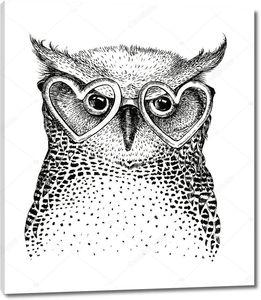 Черно-белая птица-сова в очках в форме сердец