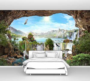 Вид из пещеры на каньон с водопадами