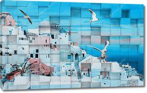 3d иллюстрация, кубики, белый старый дом, голубое небо и море, чайки