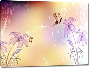 Полупрозрачные лилии, две бабочки