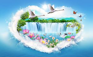 Водопад в облачном сердце