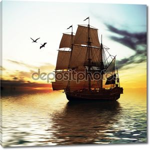 Две птицы и корабль