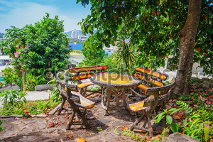 Wooden table and chairs in the garden on the terrace