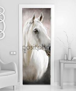 Белая лошадь портрет