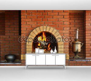 Кухня с камином и горящий огонь