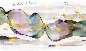 Золотые птицы в цветной ленте