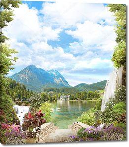 Вид на гору и озеро с цветами