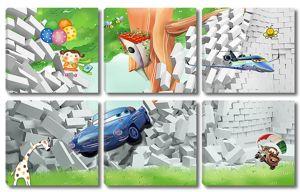 Тачки и самолетики из проломленной стены