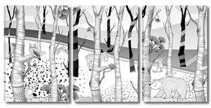 Woodland-рисованные звери в лесу