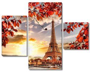 Эйфелева башня с осенними листьями в Париже, Франция