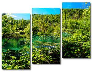 Красивый пейзаж. Национальный парк Плитвицкие озера в Хорватии