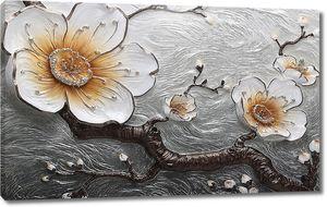Цветы на серебристом фоне