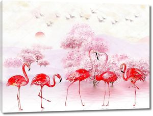 Pink landscape illustration, lake, trees, fog, sunrise, flock of birds in the sky, five bright flamingos in the foreground