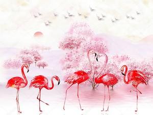 Красные фламинго