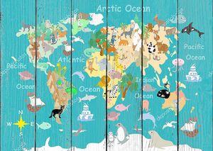 Flat World animals cartoonish kids map