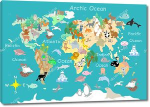 Flat  World  animals cartoonish  kids  map