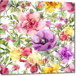 Цветы и луговой. Бесшовный цветочный фон