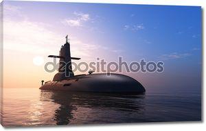 Подводная лодка в вечернее время