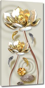 Золотые лотосы с рыбками