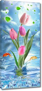 Букет тюльпанов с золотыми рыбками