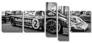 Racing car Porsche 956 designed by Norbert Singer, 1982. Black and white. The Classic Days on Kurfuerstendamm.