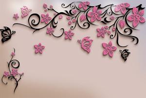 Узор бабочек и цветов