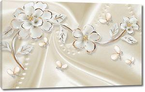 Белые цветы на белом шелке