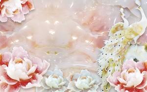 Большие белые и розовые лотосы и павлины