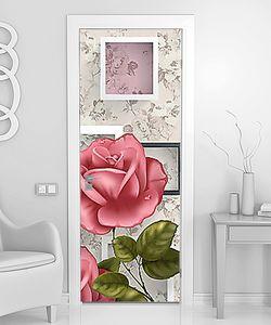 Роза на фоне цветочных обоев