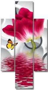Крупный красный тюльпан, отражение в воде