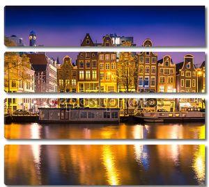Ночная точка зрения города Амстердам
