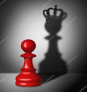 Шахмат пешки с тенью короля.