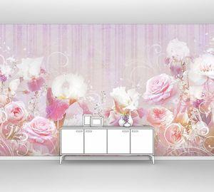 Коллаж из роз и ирисов